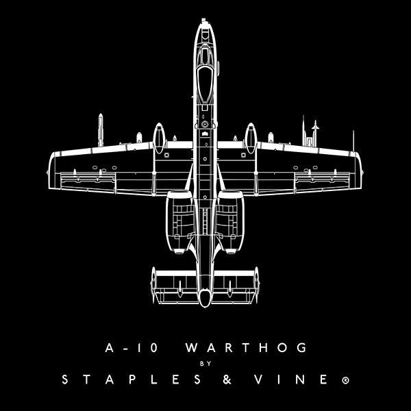 A-10 Warthog aircraft aviation T-shirt graphic by Staples and Vine Ltd.