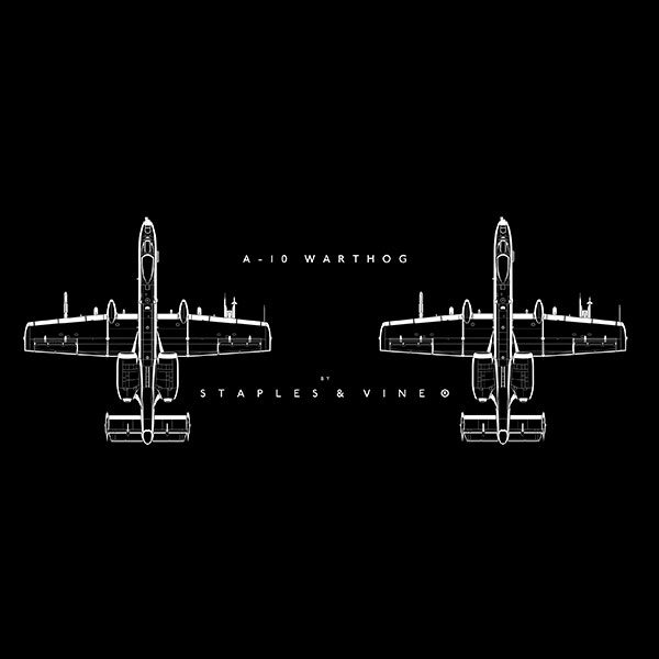A-10 Warthog aircraft mug. Aviation graphic by Staples and Vine Ltd.