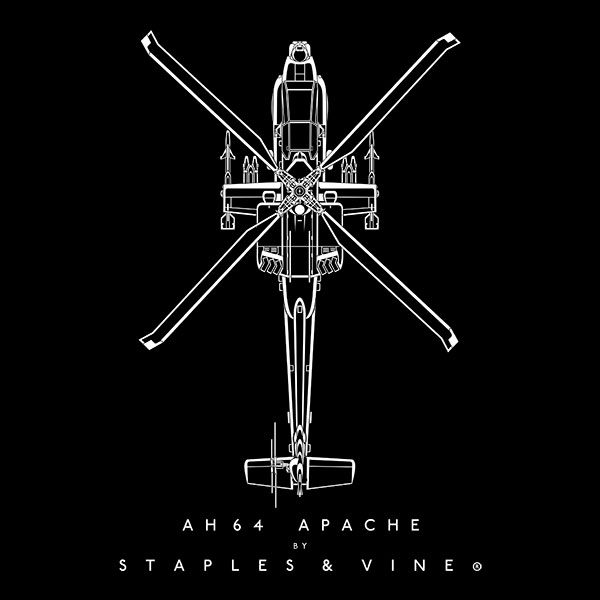 AH-64 Apache Helicopter aircraft aviation T-shirt graphic by Staples and Vine Ltd.