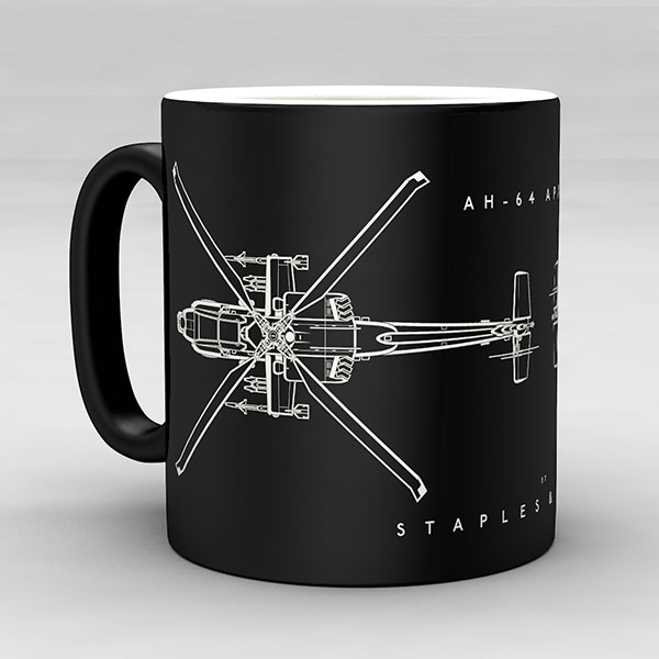 AH-64 Apache helicopter aircraft aviation mug by Staples and Vine Ltd.