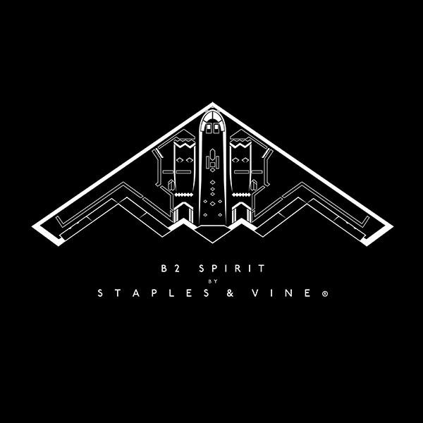B2 Spirit aircraft aviation T-shirt graphic by Staples and Vine Ltd.