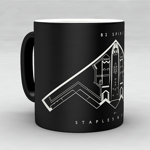 B2 Spirit aircraft aviation mug by Staples and Vine Ltd.