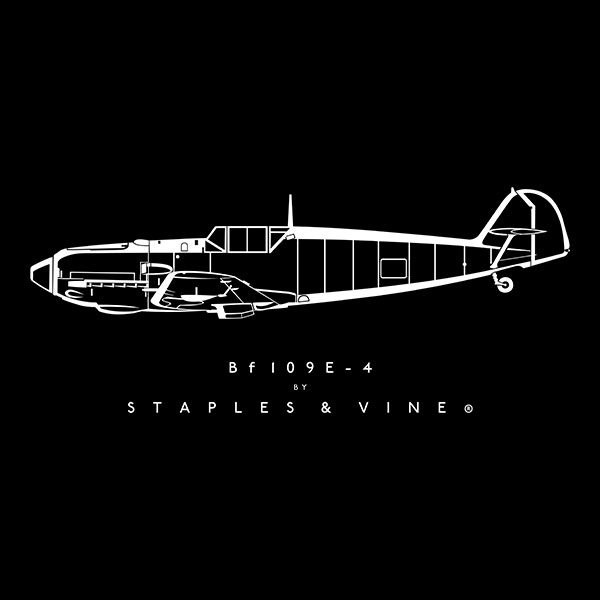 Bf 109E-4 aircraft aviation T-shirt graphic by Staples and Vine Ltd.