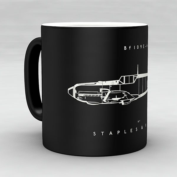 Bf 109E-4 aircraft aviation mug by Staples and Vine Ltd.