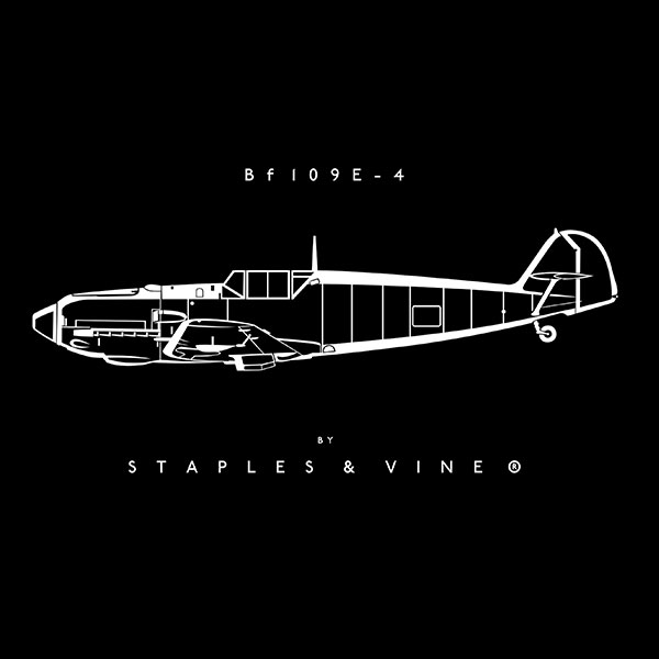 Bf 109E-4 aircraft mug. Aviation graphic by Staples and Vine Ltd.
