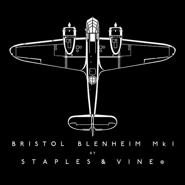 Bristol Blenheim Mk I aircraft aviation T-shirt graphic by Staples and Vine Ltd.