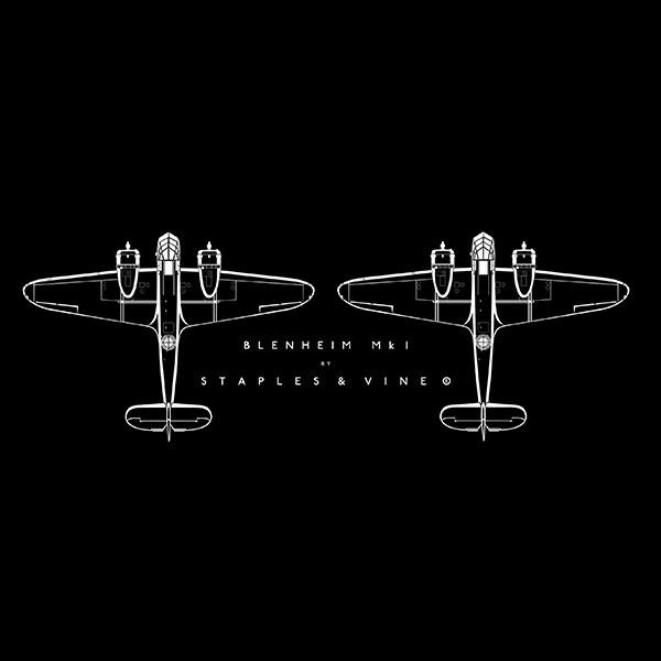 Bristol Blenheim Mk I aircraft mug. Aviation graphic by Staples and Vine Ltd.