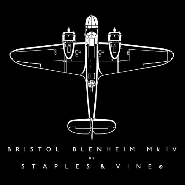 Bristol Blenheim Mk IV aircraft aviation T-shirt graphic by Staples and Vine Ltd.