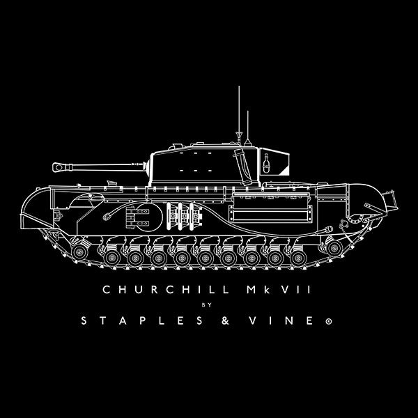 Churchill Mk VII tank T-shirt graphic by Staples and Vine Ltd.