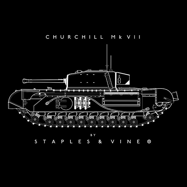 Churchill Mk VII tank mug graphic by Staples and Vine Ltd.