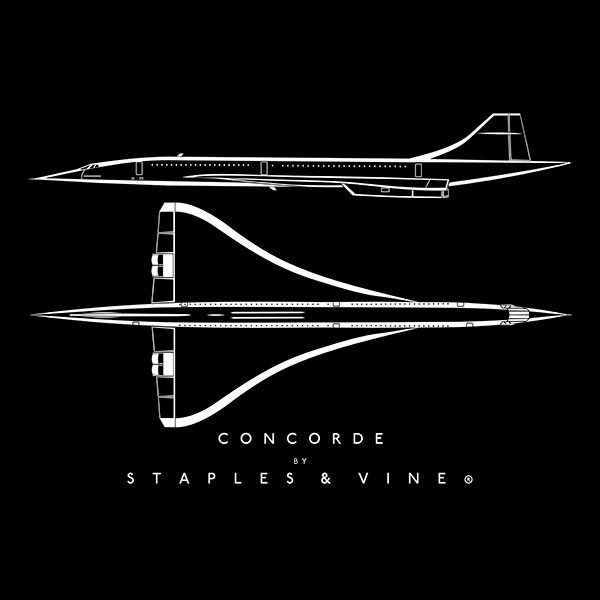 Concorde aircraft aviation T-shirt graphic by Staples and Vine Ltd.
