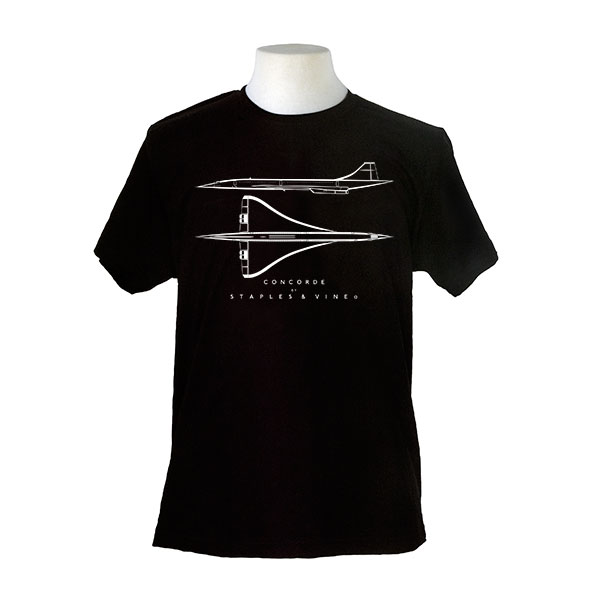 Concorde aircraft. Aviation T-shirt by Staples and Vine Ltd.