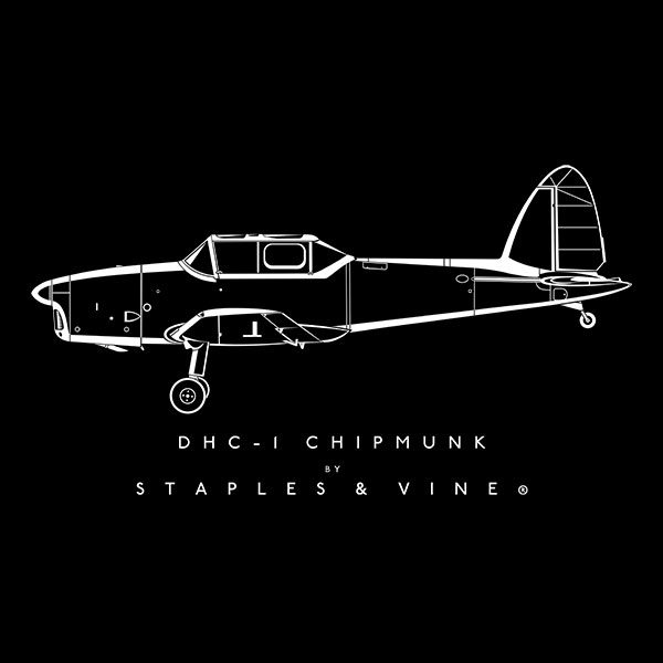 DHC-1 Chipmunk aircraft aviation T-shirt graphic by Staples and Vine Ltd.