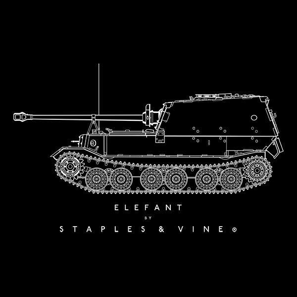 Elefant tank T-shirt graphic by Staples and Vine Ltd.