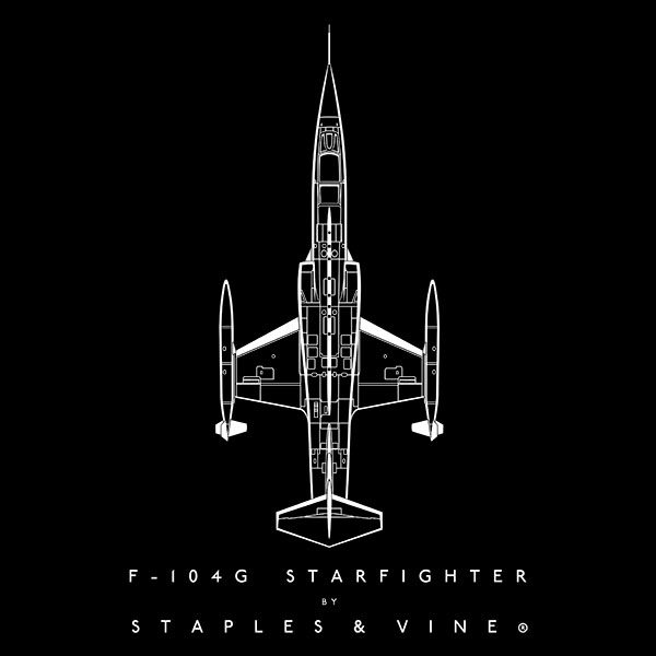 F-104G Starfighter aircraft aviation T-shirt graphic by Staples and Vine Ltd.
