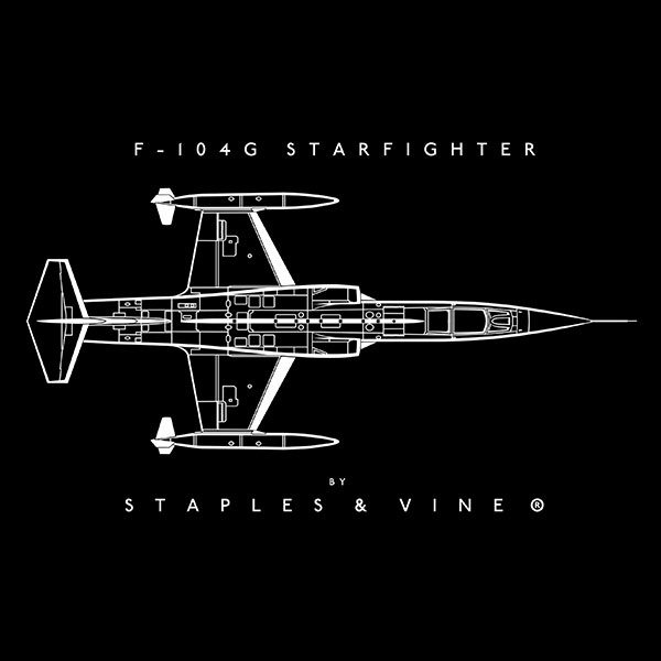 F-104G Starfighter aircraft mug. Aviation graphic by Staples and Vine Ltd.