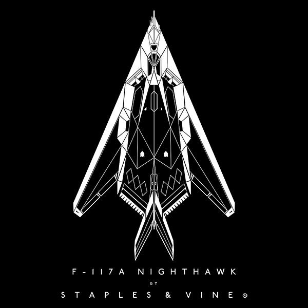 F-117A Nighthawk aircraft aviation T-shirt graphic by Staples and Vine Ltd.