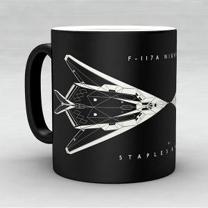 F-117A Nighthawk aircraft aviation mug by Staples and Vine Ltd.
