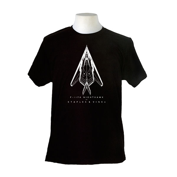F-117A Nighthawk aircraft. Aviation T-shirt by Staples and Vine Ltd.