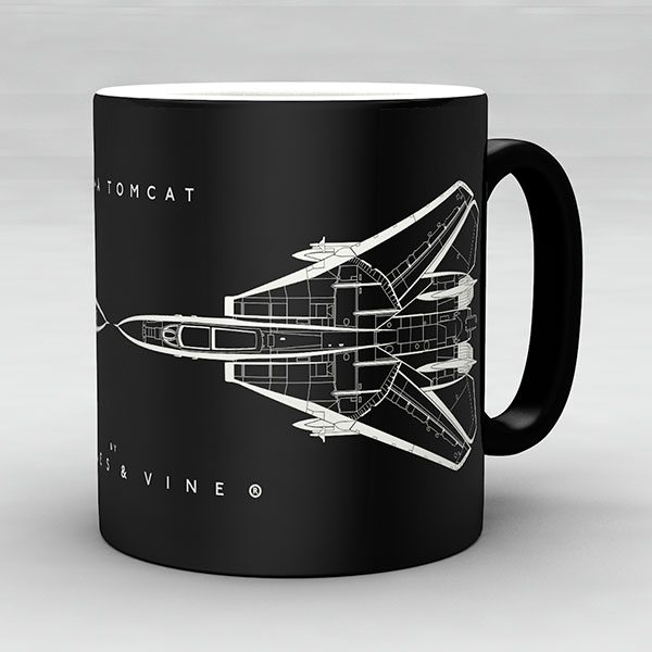 F-14A Tomcat aircraft aviation mug by Staples and Vine Ltd.