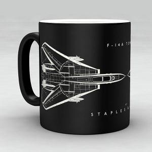 F-14A Tomcat aircraft aviation mug by Staples and Vine Ltd.
