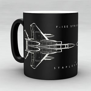F-15E Strike Eagle aircraft aviation mug by Staples and Vine Ltd.