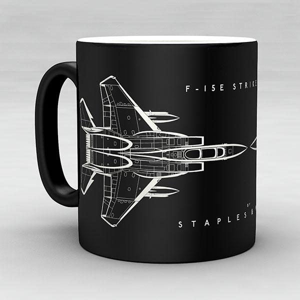 F-15E Strike Eagle aircraft aviation mug by Staples and Vine Ltd.