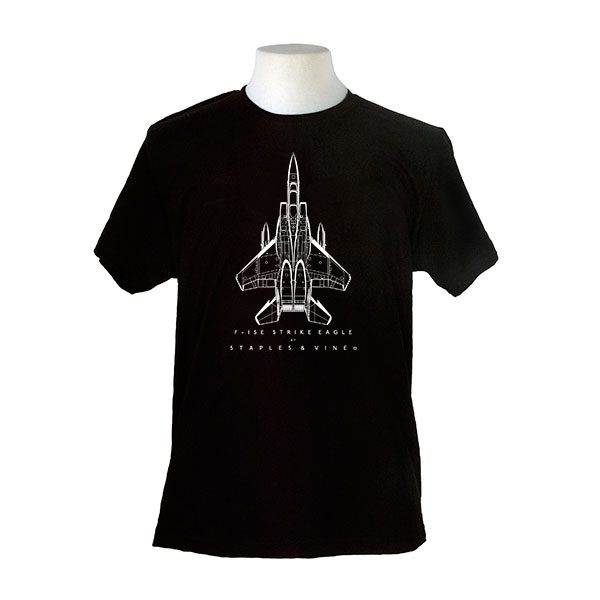 F-15E Strike Eagle aircraft. Aviation T-shirt by Staples and Vine Ltd.