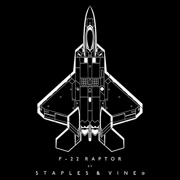 F-22 Raptor aircraft aviation T-shirt graphic by Staples and Vine Ltd.
