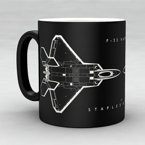 F-22 Raptor aircraft aviation mug by Staples and Vine Ltd.