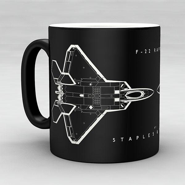F-22 Raptor aircraft aviation mug by Staples and Vine Ltd.