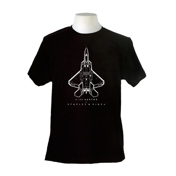 F-22 Raptor aircraft. Aviation T-shirt by Staples and Vine Ltd.