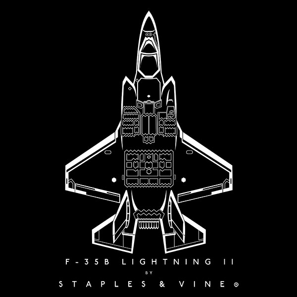 F-35B Lightning II aircraft aviation T-shirt graphic by Staples and Vine Ltd.