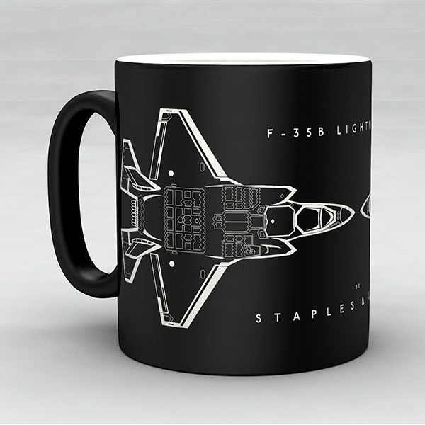 F-35B Lightning II aircraft aviation mug by Staples and Vine Ltd.