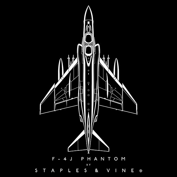 F-4J Phantom aircraft aviation T-shirt graphic by Staples and Vine Ltd.