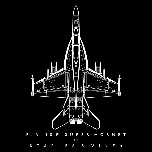 F/A-18F Super Hornet aircraft aviation T-shirt graphic by Staples and Vine Ltd.