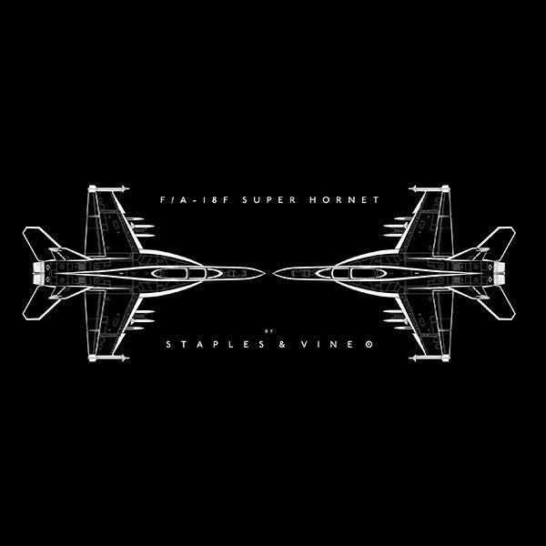 F/A-18F Super Hornet aircraft mug. Aviation graphic by Staples and Vine Ltd.