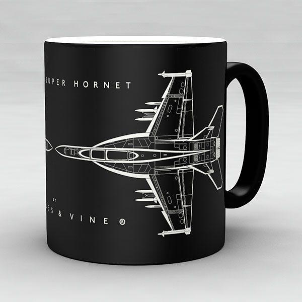 F/A-18F Super Hornet aircraft aviation mug by Staples and Vine Ltd.