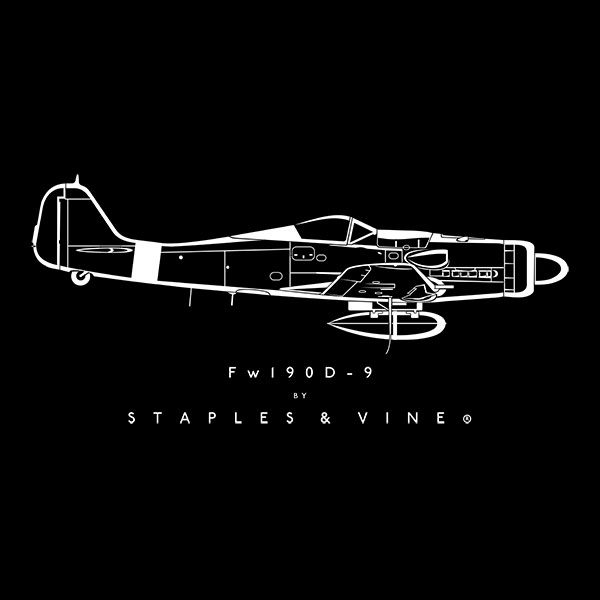 Focke Wulf Fw 190D-9 aircraft aviation T-shirt graphic by Staples and Vine Ltd.