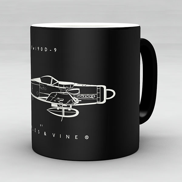 Focke Wulf Fw 190D-9 aircraft aviation mug by Staples and Vine Ltd.
