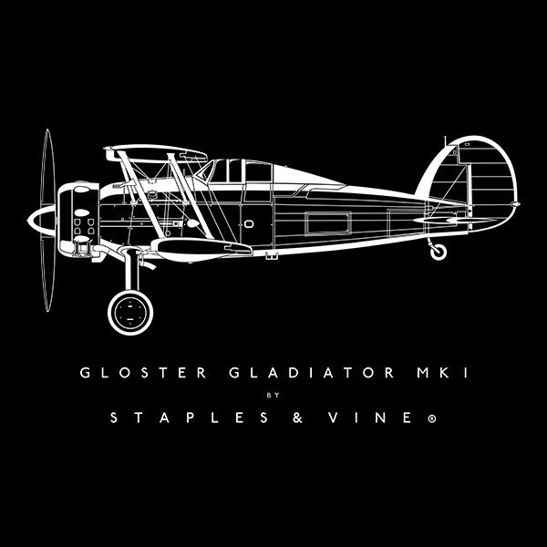 Gloster Gladiator Mk I aircraft aviation T-shirt graphic by Staples and Vine Ltd.