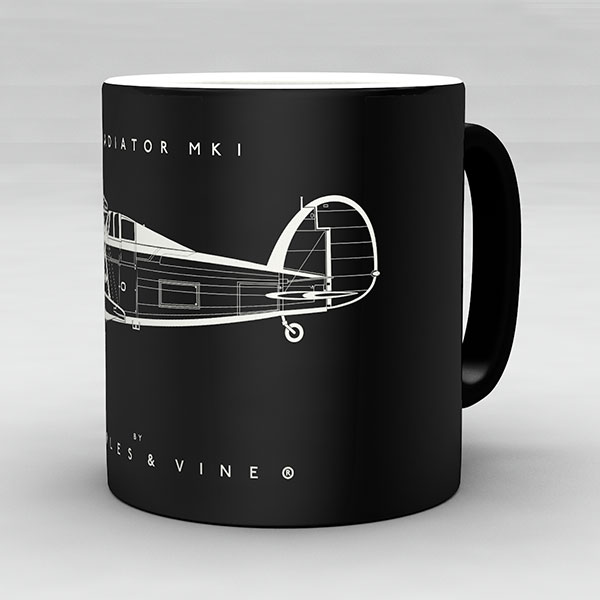 Gloster Gladiator Mk I aircraft aviation mug by Staples and Vine Ltd.