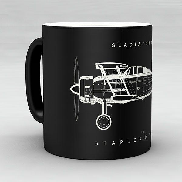 Gloster Gladiator Mk I aircraft aviation mug by Staples and Vine Ltd.