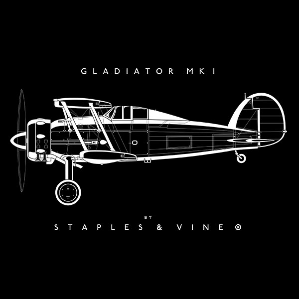 Gloster Gladiator Mk I aircraft mug. Aviation graphic by Staples and Vine Ltd.
