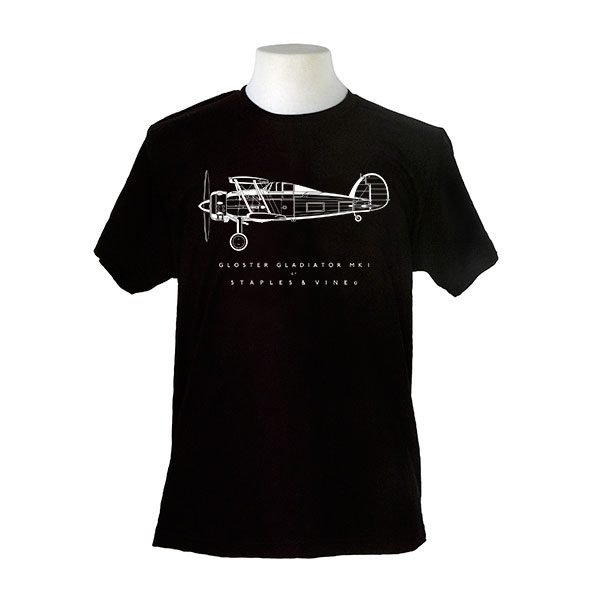 Gloster Gladiator Mk I aircraft. Aviation T-shirt by Staples and Vine Ltd.