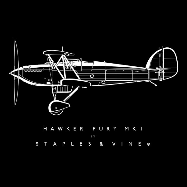 Hawker Fury Mk I aircraft aviation T-shirt graphic by Staples and Vine Ltd.