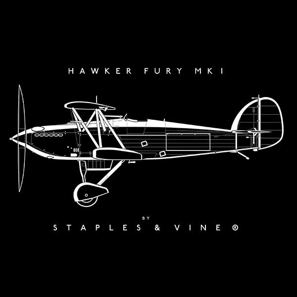 Hawker Fury Mk I aircraft mug. Aviation graphic by Staples and Vine Ltd.