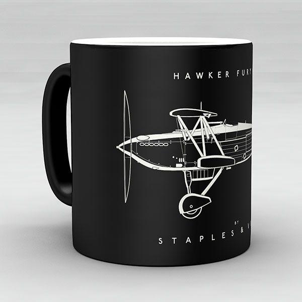 Hawker Fury Mk I aircraft aviation mug by Staples and Vine Ltd.