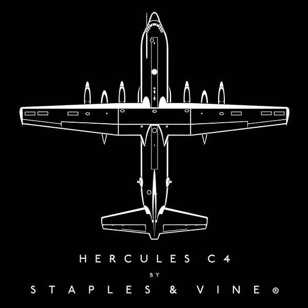 Hercules C4 aircraft aviation T-shirt graphic by Staples and Vine Ltd.