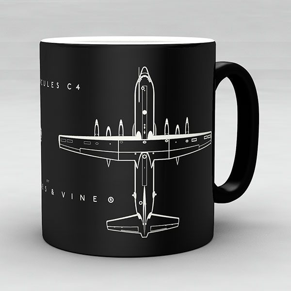 Hercules C4 aircraft aviation mug by Staples and Vine Ltd.